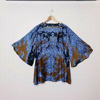 City Chic Womens Plus Size XL Blue Brown Paisley Satin Kimono Sleeve Top Shirt
