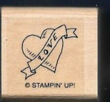 LOVE BANNER HEART Card Back Design Gift Tag Stampin Up! Friend Rock Rubber Stamp
