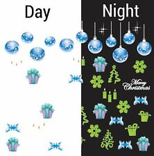 Nail Art Water Decals Glow in the Dark Merry Christmas Blue Ornament GID042