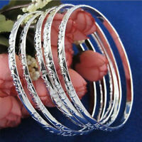 5Pcs/Set 925 Silver Filled Carving Cuff Bracelet Bangle Jewelry For Women Gift