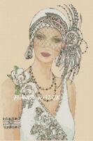 Cross stitch chart  Art Deco Lady 55   FlowerPower37-UK-..FREE UK P&P.--...