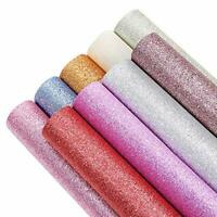 Sntieecr 9 Colors A4 Size Super Shiny Glitter Faux Leather Fabric Sheets Canvas