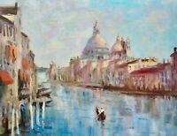 "12"" X16""AskArt Listed Artist Nino Pippa Original Oil Painting Venice Grand Canal"
