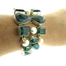 Sterling Silver Green Agate Quartz Fresh Water Pearl Toggle Bracelet