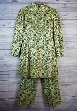 Ceil Chapman 1960s Metallic Gold Green Floral Brocade Dress Pant Suit Sz 10