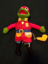 Vtg Sesame Street Kermit the Frog FirefighterPlush Stuffed Animal Doll Mattel