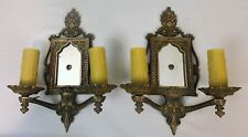 Pair Antique Vintage Mirror Back Ornate Cast Bronze Tudor Gothic Sconces c1920