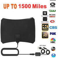 1500 Miles Digital HDTV TV Antenna Indoor Aerial HD Freeview Signal Thin 1080P