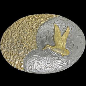 Duck Bird Nature Animal Hunting Art Artwork Western Cowboy 80s Vtg Belt Buckle