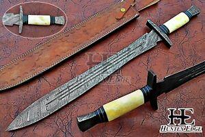 HUNTEX Custom Handmade Damascus 690 mm Long Full Tang Camel Bone Viking Sword