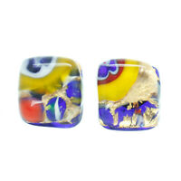 Murano Glass Earrings Gold Yellow Millefiori Handmade Venice Stud Square
