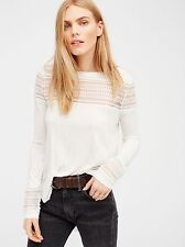 FREE PEOPLE ROX VISCOSE JERSEY MESH INSET LONG SLEEVE TOP (LQ9) White Size S