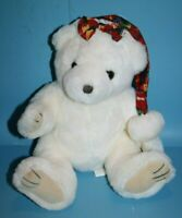"Royal Plush Toys Teddy Bear 12"" Christmas Hat Bow White Stuffed Soft Felt Pads"