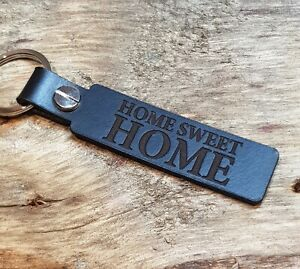 HOME SWEET HOME Leather Keyring Keychain Fob Black