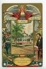 Sword & Pen ABRAHAM LINCOLN Antique Embossed PC Civil War ca. 1910s