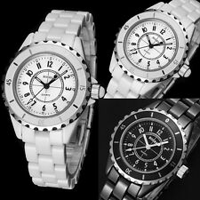 Fashion Men's Geneva Imitation Ceramic Band Quartz Casual Wrist Watch Analog
