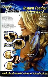 Snap-on Feathers Instant Feather Hair Extensions 5 Pack Colors As Seen On TV