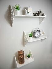 Set of White Shabby Chic Filigree Floating Wall Shelves White Bathroom Shelving