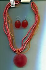 COLDWATER CREEK CORAL necklace earrings set
