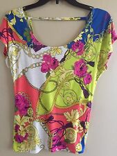 Ladies Women's size XS X small Delia's colorful bow shape back top shirt blouse