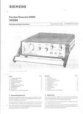 Siemens Service Manual u. Betriebsanltg. f. Funktionsgenerator D 2003/7KD 2003