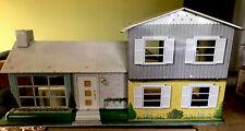 Antique Marx Litho Tin Metal Doll House Mid Century Modern Ranch