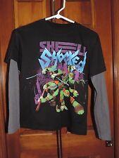 Boy's TMNT Teenage Mutant Ninja Turtles Long Sleeve Cotton Shirt Size Large