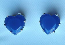 Deep Blue Faceted Glass Claw Set Silver Tone Heart Stud Earring 8mm ( Butterfly)