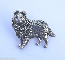 Sheltie Dog Hand Made in Pewter Lapel Pin Badge