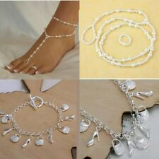 Ankle Foot Chain Pearl Barefoot Toe Ring Beack Anklet Wedding Jewelry Fashion