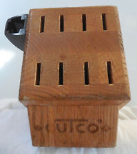 Vintage CUTCO 8 Slot Knife Block with Holster Honey Oak Wood Large T Logo