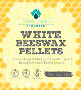 PURE White Organic Beeswax Pellets 480g Grade A -3 x  Filtered Superior Quality