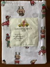 Cynthia Rowley Standard Pillowcases Winter Dressed Dogs Holiday New