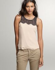 NWT J.Crew Factory Lisette Lace Silk Shell Tank Top Size 14 Beige/Black