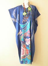 K99 Blue Batik Women Kaftan Caftan Batwing Tunic Abaya Dolman Maxi Dress S to L