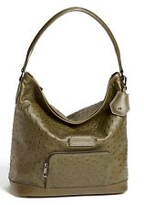 NEW LONGCHAMP Legende Exotic Ostrich Leather Hobo Shoulder Bag Khaki Green $660