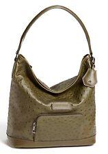 NEW LONGCHAMP Legende Exotic Ostrich Leather Hobo Shoulder Bag Khaki Green $660