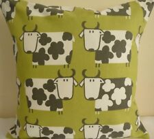 """16"""" CUSHION COVER COUNTRY COTTAGE FARM COWS SHABBY SCANDI OLIVE PISTACHIO GREEN"""