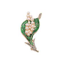 Broche Fleur Lily Mini Perle Email Vert Retro Doré Original XZ  3
