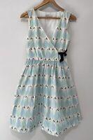 KAREN WALKER stunning A Line Wrap Dress With Pockets Pear Print Size 8