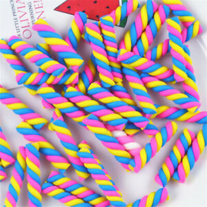 20pcs Bulk Polymer Clay Twisted Marshmallow Embellishment Candy Art Decor 2.4cm