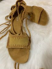 Women Nine West Leather Lace Up Mustary Color Open Toe Wedges Size 10