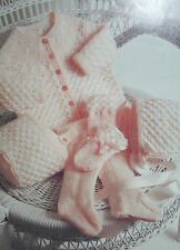 Baby's Matinee Coat/Jacket, Leggings, Bonnet and Mittens Knitting Pattern BP119