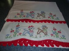 vintage embroidered pillow cases white standard size Mr. & Mrs. Poodles flowers