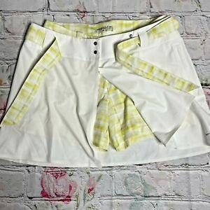 Nike Golf Dri-fit M/8 2Pc  Skirt w/ Stretch Shorts Yellow/ white