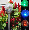 6 Outdoor Solar Stainless Steel Glass Crackle Ball Color Changing LED Lights