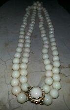 2-Strand Princess 14kt Gold Coral White Vintage Choker. 98, Pearls. RARE!!!