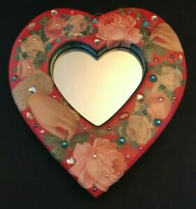 "Heart Wall Hanging Mirror 11.5""  Flower Themed"
