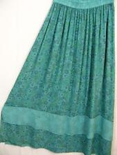 Sk239~Tienda Ho~TURQUOISE~Double Hem~EMBROIDERED~Rayon~A-line Skirt~OS M L XL?