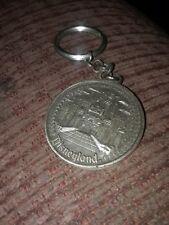 Vtg Disneyland Castle Medallion Coin Keychain Walt Disney Productions